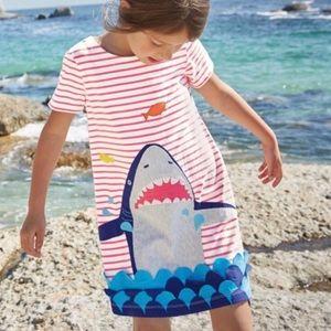 Mini Boden Shark Appliqué Dress 2-3Y